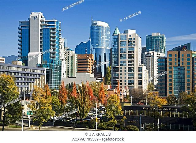 Downtown from Granville Bridge, Vancouver, British Columbia, Canada