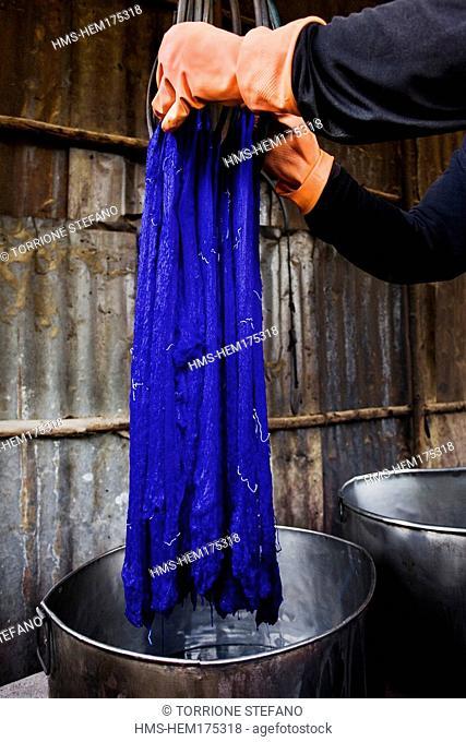 Thailand, Northeastern Thailand, Isan region, Chonnabot district, Chonnabot, worshop, the mat mii, a weaving method consisting in dyeing the silk threads before...