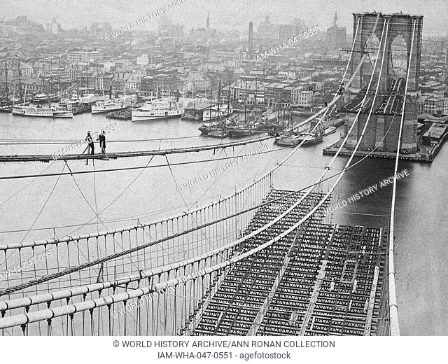 Photograph of the Brooklyn Bridge whilst under construction. Dated 1883