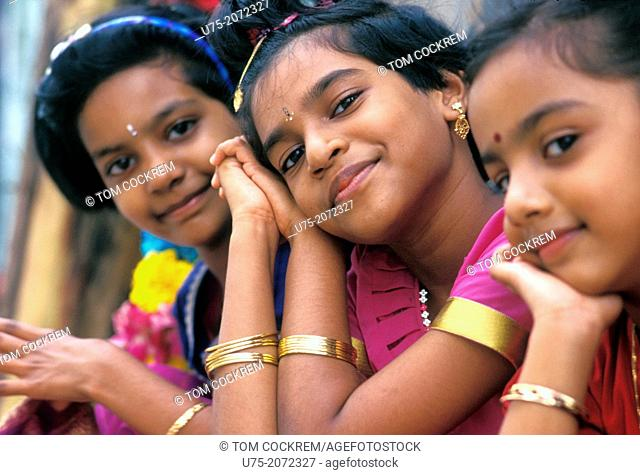 Young girls at Taipusam festival, Singapore