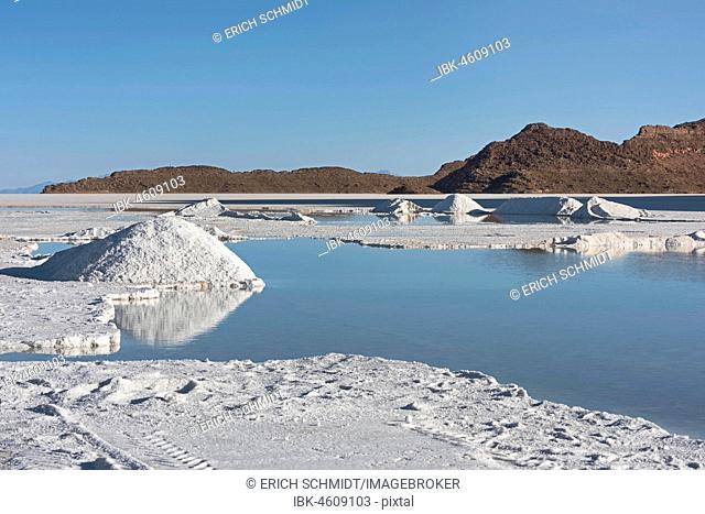 Salt mining at the salt lake Salar de Uyuni, Altiplano, Bolivia