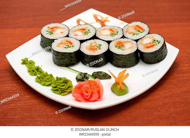 sushi rolls with crabs meat