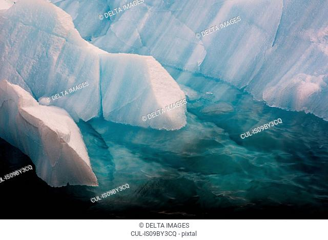 Ice floes, high angle sunlit detail, Erik Eriksenstretet strait separating Kong Karls Land from Nordaustlandet, Svalbard Islands, Norway