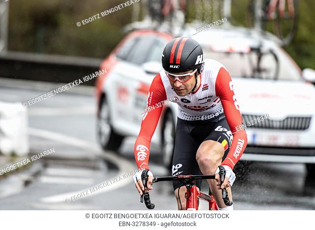 Sander Armee at Zumarraga, at the first stage of Itzulia, Basque Country Tour. Cycling Time Trial race