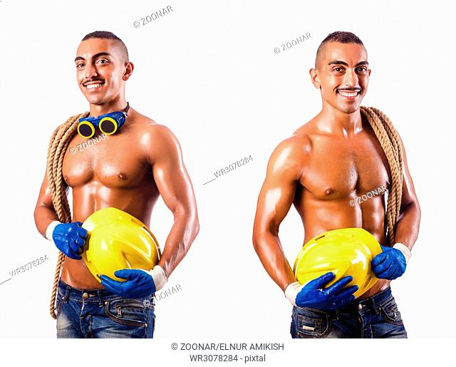 Muscular builder with tools isolated on white