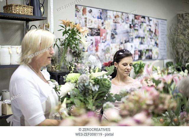 Two women in flower shop