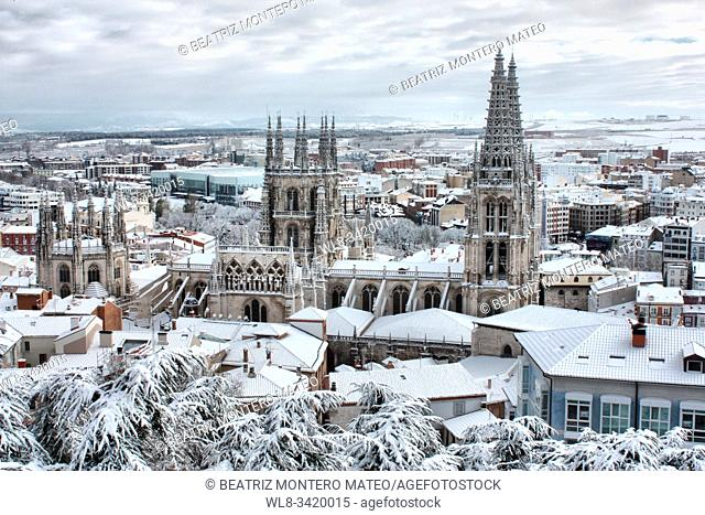 Cathedral of Burgos snowy (Spain)