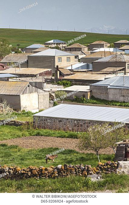 Armenia, Lake Sevan, Noratus, high angle village view