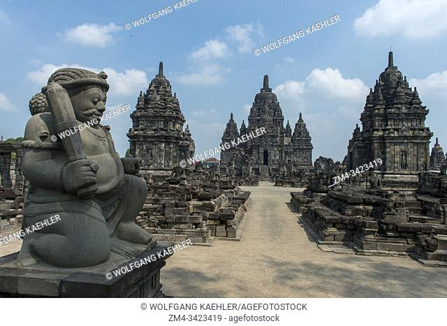A guardian statue at Sewu Temple (Candi Sewu) (part of Prambanan UNESCO World Heritage Site), is dating back to the 8th century AD and is the second largest...