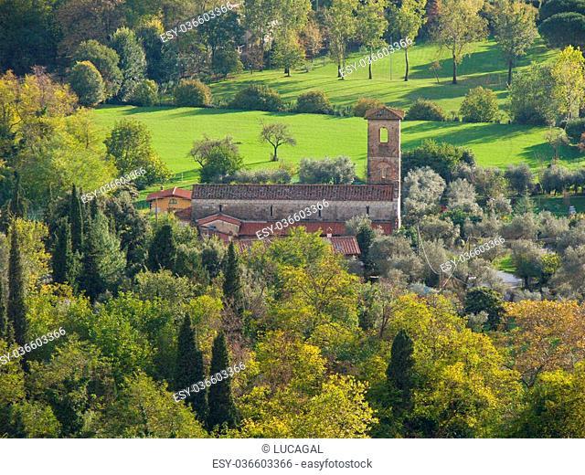Romanesque country parish church of Saints Giovanni and Felicita Valdicastello Pietrasanta Versilia Tuscany Italy