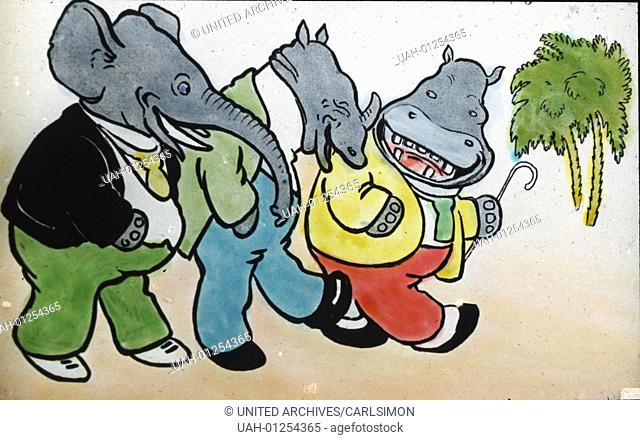Three friends - Billy the Elephant, Ernst the Rhino and Molly the Hippo. Comic, image date circa 1910. Carl Simon Archive