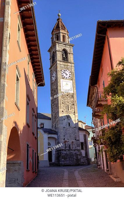 Church of Ascona, Ticino, Switzerland with sundial