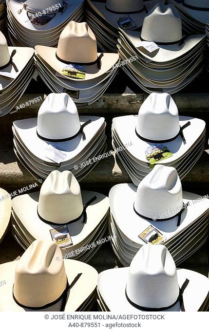 Sunday market in Tlacolula town. Hats. Oaxaca,Mexico