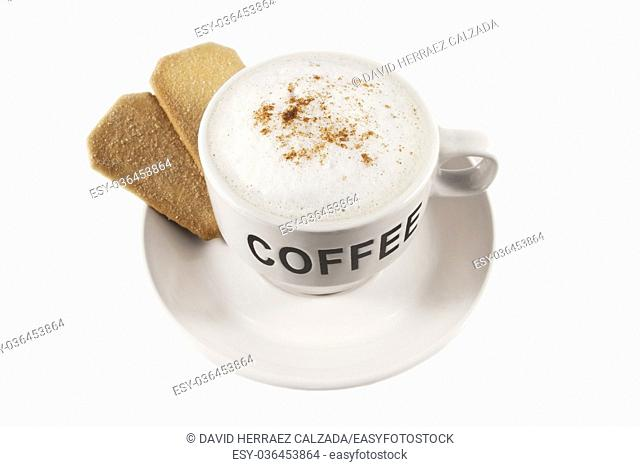 Coffee cup with biscuits over white isolated background