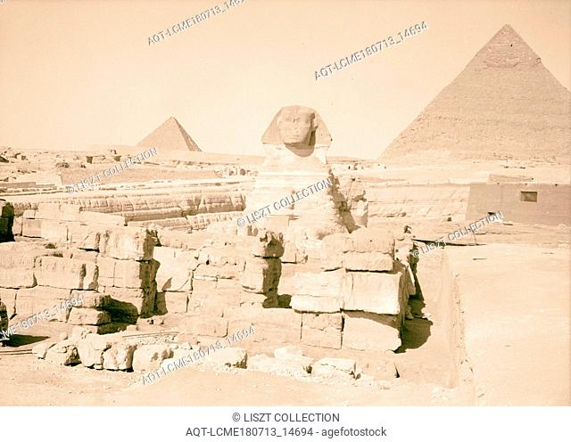 Egypt. Sphinx & pyramids. Sphinx (front view with temple in foreground, with two pyramids in background). 1934, Jizah, Jizah