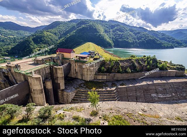 Aerial view above Siriu Dam a on the Buzau River valley near Lunca Jaristei village in Siriu commune, Buzau county of Romania