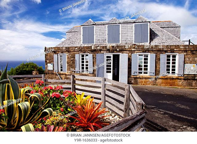 Historic lookout building at Shirley Heights - overlooking the English Harbor on Antigua, West Indies