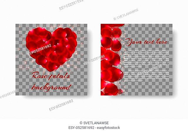 Romantic background with red rose petals in the shape of a heart for congratulations on Valentine's Day or Mother's Day