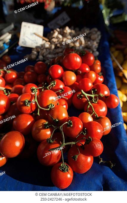 Tomatoes at the market stall in Sigacik town, Seferihisar, Izmir Province, Aegean Coast, Turkey, Europe