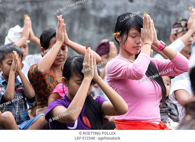 Balinese people praying, Odalan temple festival, Iseh, Sidemen, Karangasem, Bali, Indonesia