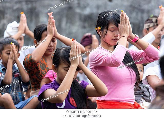 Balinese people praying, Odalan temple festival, Iseh, Sidemen, Karangasem, Bali, Indonesia