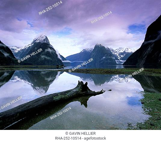 Reflections and view across Milford Sound to Mitre Peak, 1629m, Milford Sound, Fiordland, South Island, New Zealand, Pacific