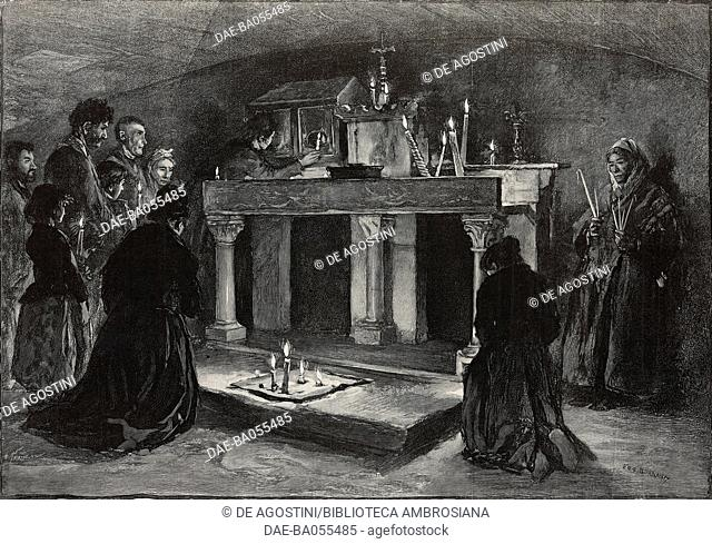 The crypt of Sainte-Sarah, pilgrimage to Saintes-Maries-de-la-Mer, France, illustration by Eugene Burnand from L'Illustration, No 2777, May 16, 1896