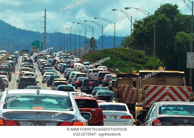 traffic, H-1 freeway, O'ahu, Hawai'i