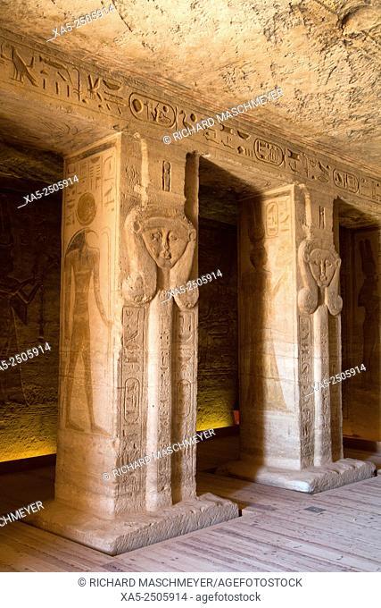 Statues of Queen Nefertari, Hypostle Hall, Hathor Temple of Queen Nefertari, Abu Simbel, Egypt