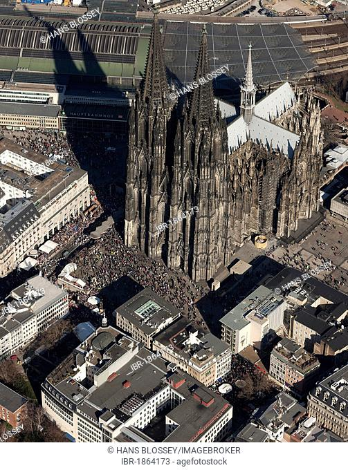 Aerial view, street carnival in front of Cologne Cathedral, old town, Cologne, Rhineland, North Rhine-Westphalia, Germany, Europe