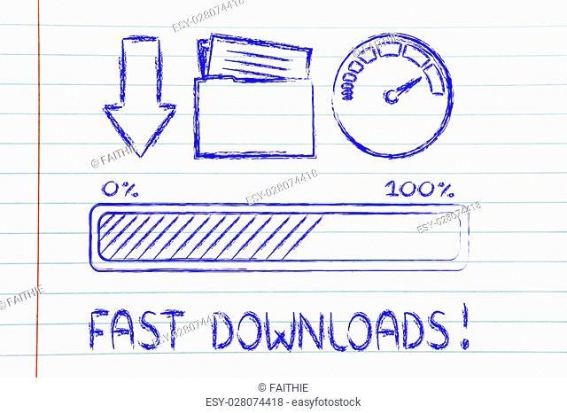 download transfer speed: speedometer and progress bar