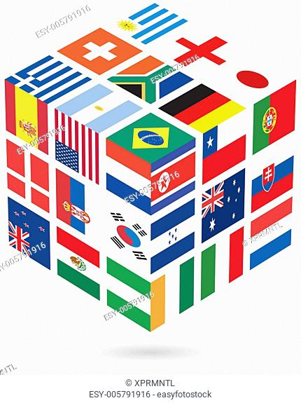 uniforms of national flags participating in world cup in 3d cube shape