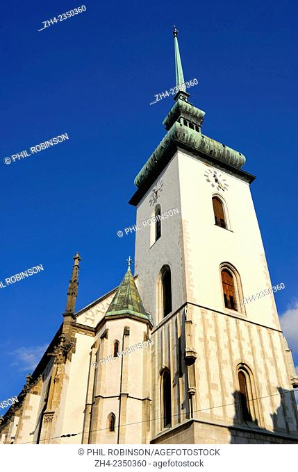 Brno, South Moravia, Czech Republic. Church of St James / Kostel svateho Jakuba (14thC, tower finished 1592) - late Gothic