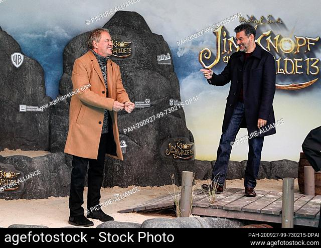 """27 September 2020, Berlin: Actors Uwe Ochsenknecht (l) and Rick Kavanian come to the world premiere of the film """"""""Jim Knopf und die Wilde 13"""""""" at Kino Zoo..."""