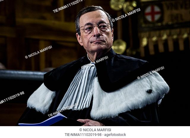 European Central Bank (ECB) President Mario Draghi delivers a speech after being awarded with an Honoris Causa Degree at the Universita Cattolica university in...