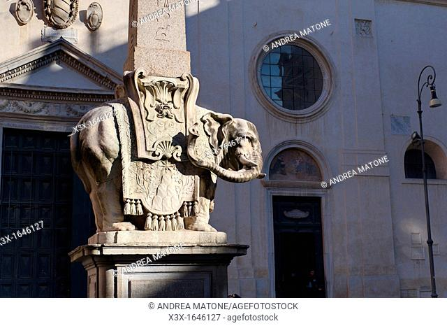 Elephant obelisk statue Piazza Minerva Rome Italy