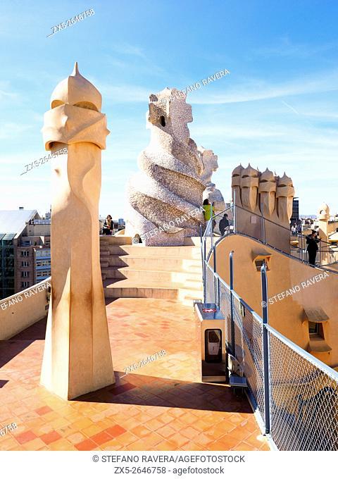 Casa Milà known as La Pedrera - Barcelona, Spain