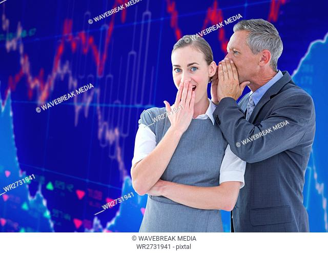 Businessman Standing in front of Graph speaking to woman ear against blue background