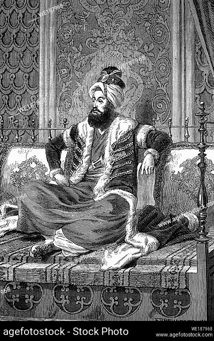 Selim III, Ottoman Caliph, Sultan of the Ottoman Empire. 1761-1808. Antique illustration. 1890