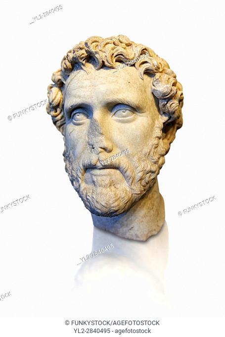 Roman portrait bust of Emperor Antoninus Pius, 138-161 AD. Titus Fulvius Aelius Hadrianus Antoninus Augustus Pius, also known as Antoninus