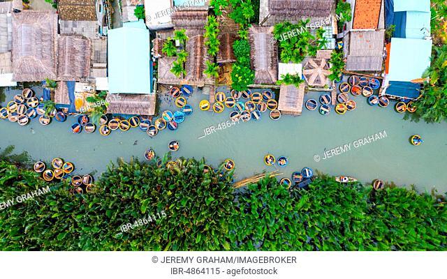 Many Basket boats on Thu Bon river, Hoi An, Vietnam