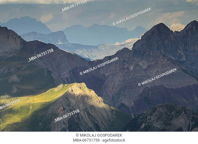 Europe, Italy, Alps, Dolomites, Mountains, View from Col Margherita Park