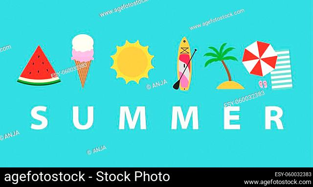 summer concept with related icons - vector illustration
