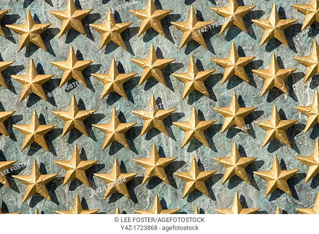 Washington DC, USA, the National World War II Memorial on the Mall. Each star represents 100 soldiers who died