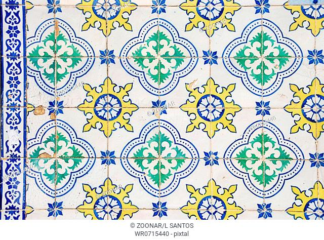 background of traditional portuguese azulejos painted ceramic tilework