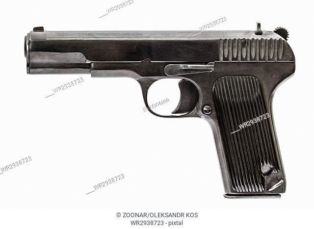Automatic pistol, isolated on white background
