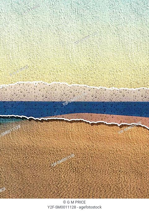stripe of blue water in paint-filter version of dune and sea, Australia