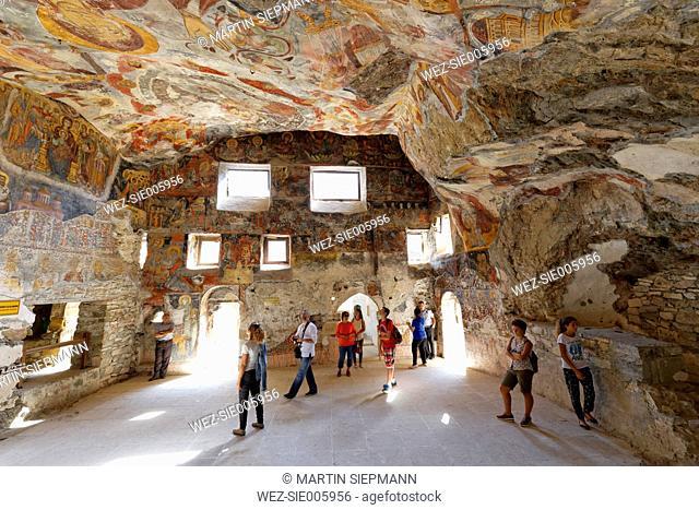Turkey, Province Trabzon, Sumela Monastery, Frescos in rock-hewn church