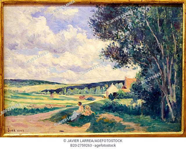 """""""Yonne, the Road to Vermenton"""", 1906, Maximilien Luce, Thyssen-Bornemisza Museum, Madrid, Spain"