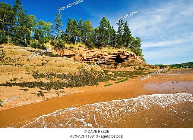 outgoing tide/sandstone shoreline, near Lower Economy in the Minas Basin, Bay of Fundy, Nova Scotia